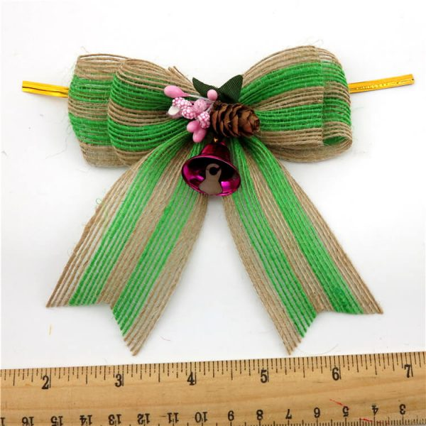 green burlap ribbon with bells and gold twisited tie