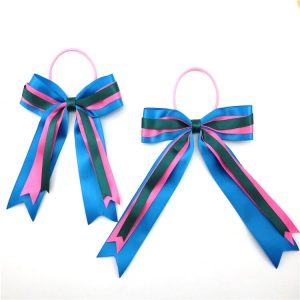 Colorful ribbon bow with elastic loop