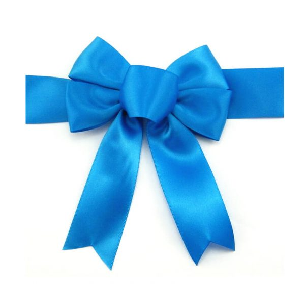 satin diy blue ribbon bow for package