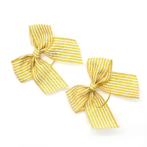 yellow metallic ribbon bow with elastic band
