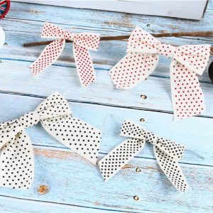 printed dots cottom ribbon bow wholesale