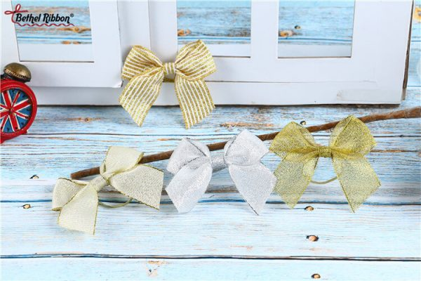 elastic band sliver ribbon and bow